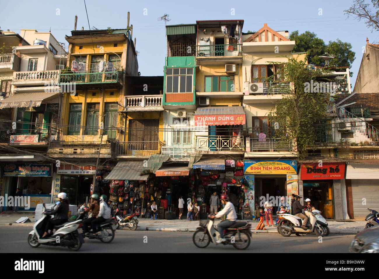 Streetscene with Traffic Hanoi Vietnam - Stock Image