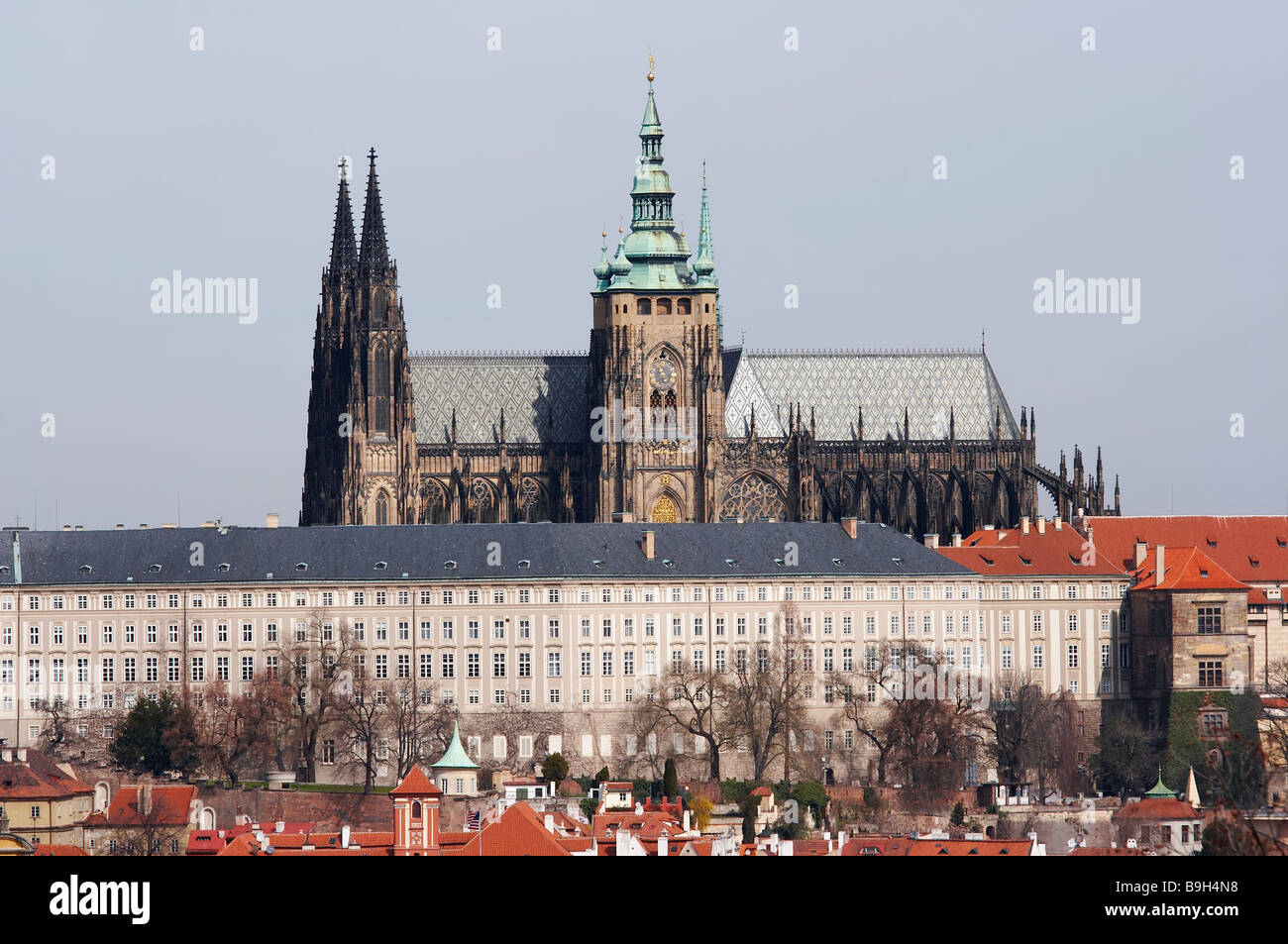 Hradcany - Cathedral of St Vitus and Prague castle - the coronation cathedral of the Bohemian sovereigns - Stock Image