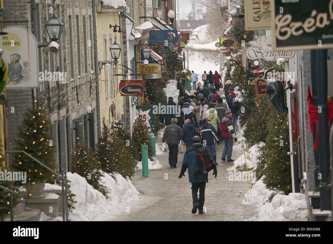 Canada Quebec city old town Quarter petit Champlain shopping ...