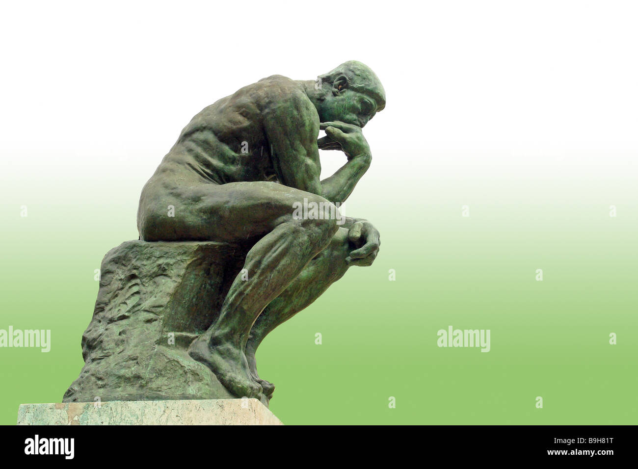 Art sculpture statue the thinker August Rodin  Augusts rodin famous sculptor Auguste Rodin sculpture representation - Stock Image