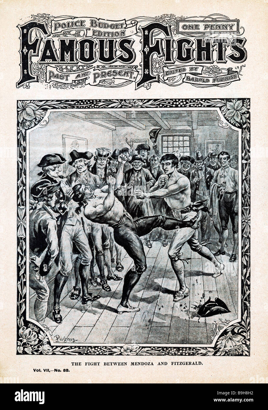 Daniel Mendoza v Squire Fitzgerald Famous Fights cover of the victory of the bout in Dublin in 1791 cover of Famous - Stock Image