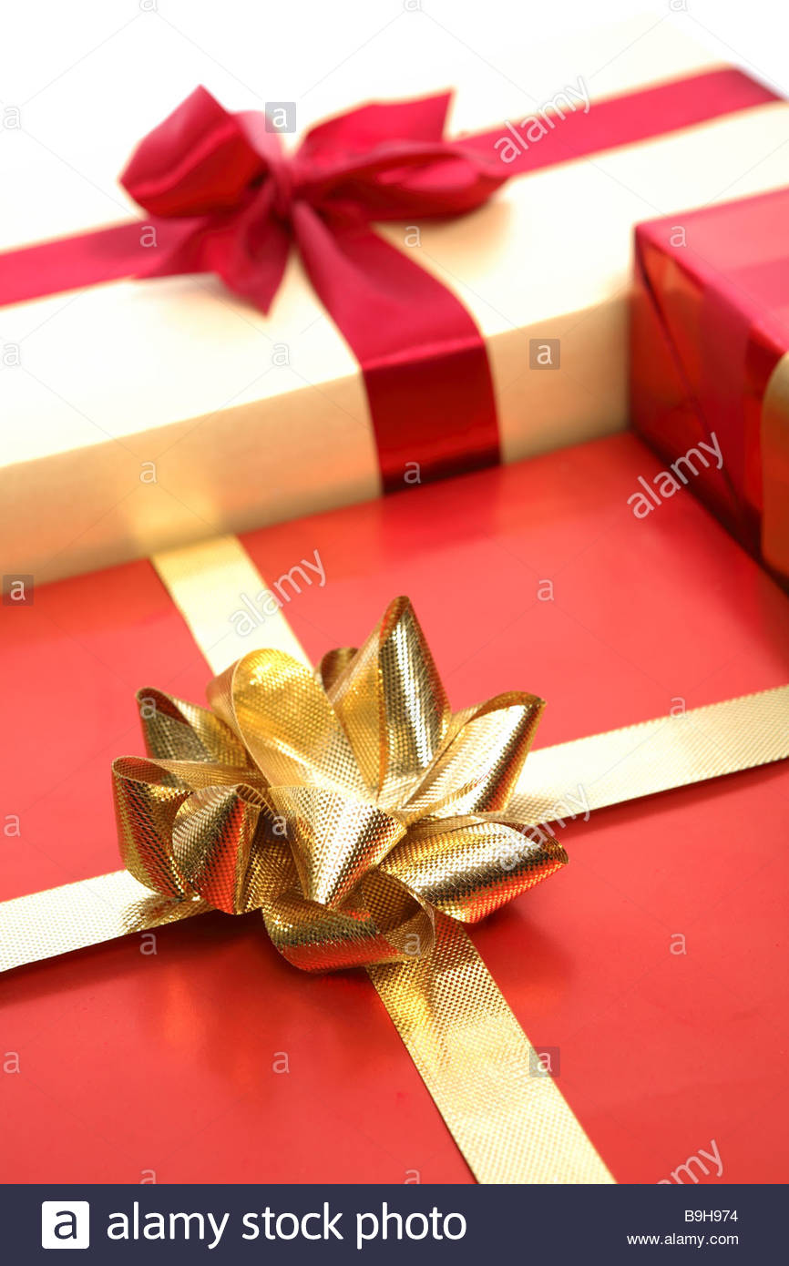 Gifts Packs Bows Close Up Christmas Birthday Present Surprises Festively Packet Gift Packages