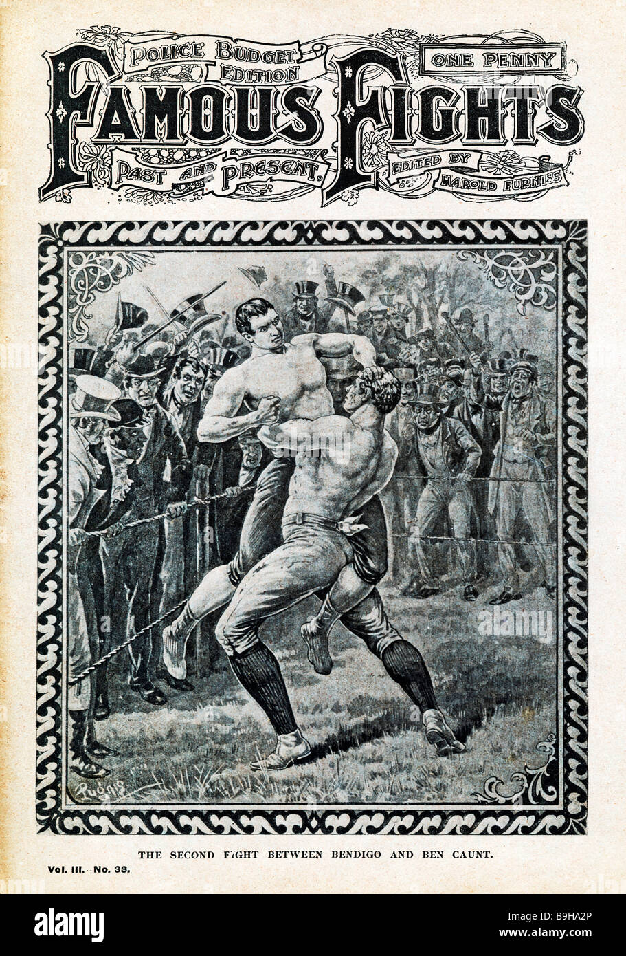 Bendigo v Ben Caunt Famous Fights cover of the controversial technical victory of Caunt in their second fight in Stock Photo