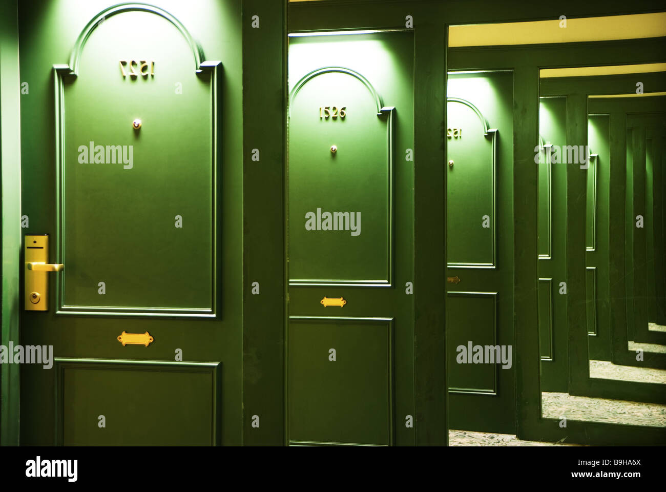 Hotel hall mirrors room-doors green reflections many times hotel-halls doors wood-doors entrances room-numbers wall-mirrors & Hotel hall mirrors room-doors green reflections many times Stock ...