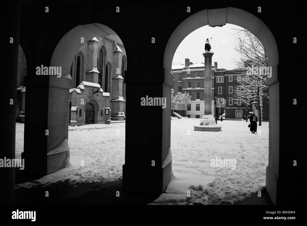 Snow at Temple Church, Inner Temple, Inns of Court, London - Stock Image
