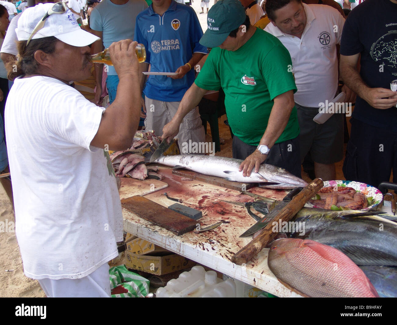 Mexico Yucatan fisher-party Central America people party event celebrates fishers natives enjoyments sociability - Stock Image