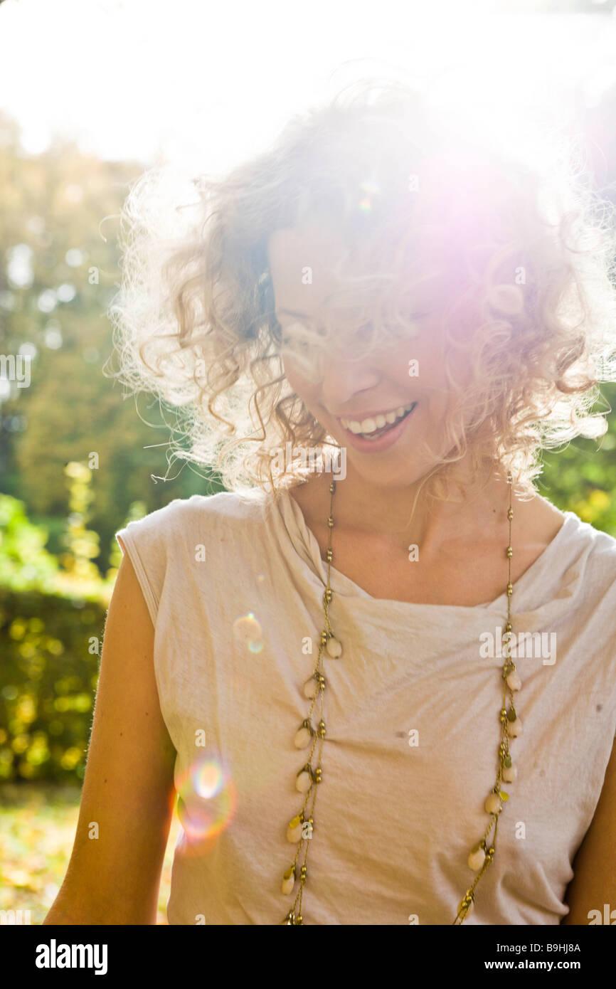 Woman enjoying leisure time - Stock Image