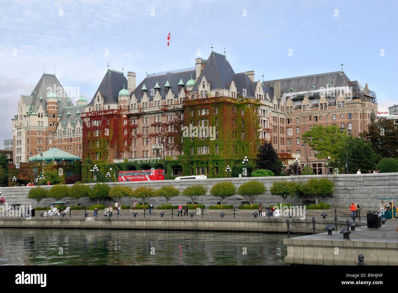 Empress Hotel, historic railroad hotel, Victoria, Vancouver Island, British Columbia, Canada, North America - Stock Image