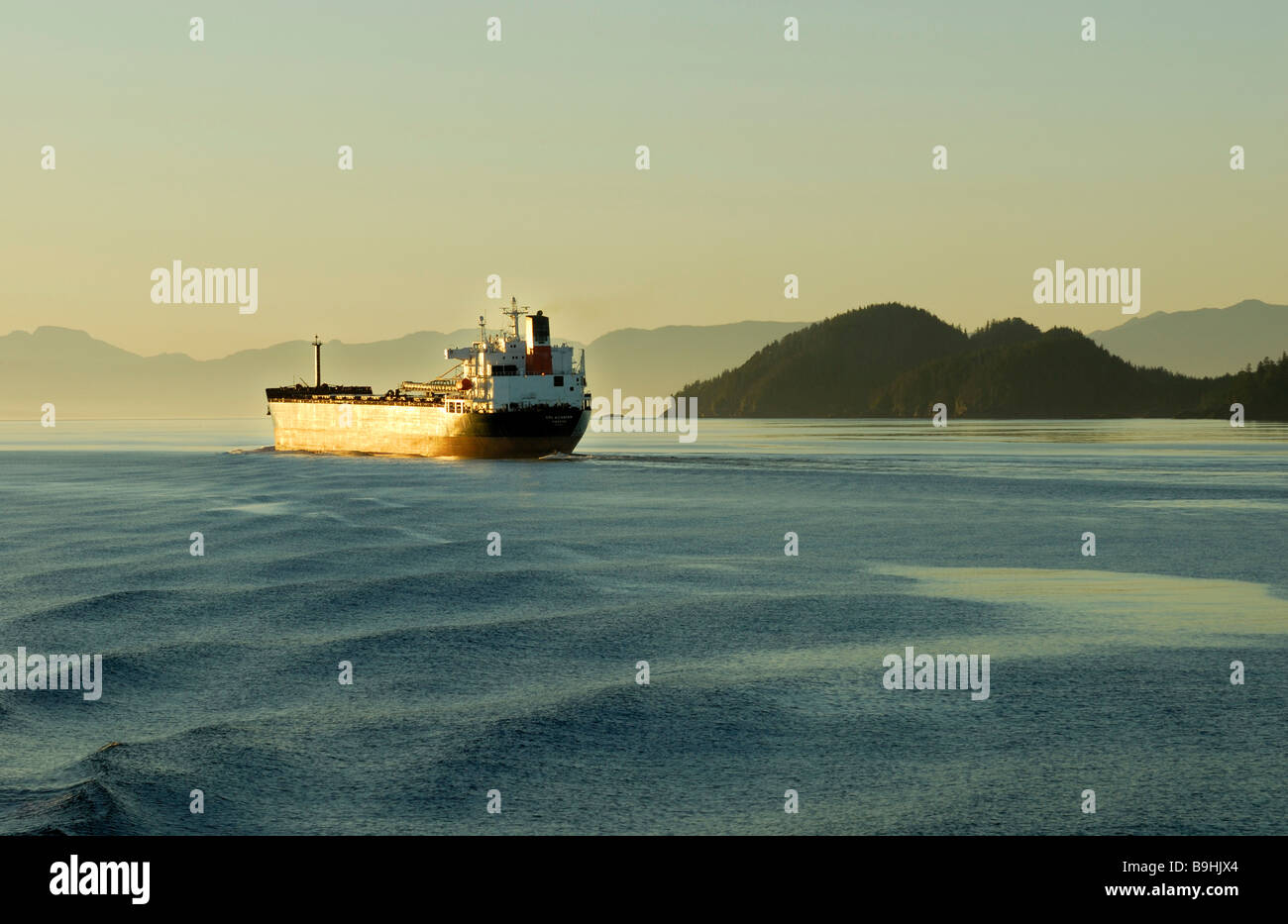 Freighter on the Inside Passage, British Columbia, Canada, North America - Stock Image