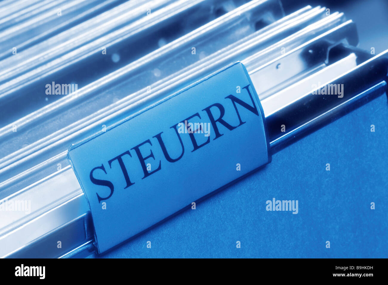 Steuern, German for taxes, in a file - Stock Image