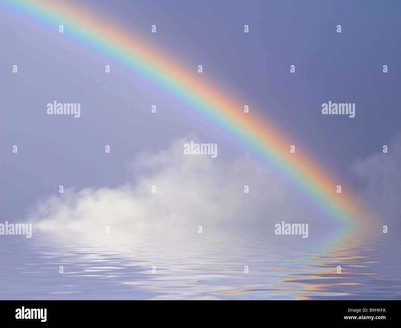 Rainbow with water reflection, background - Stock Image