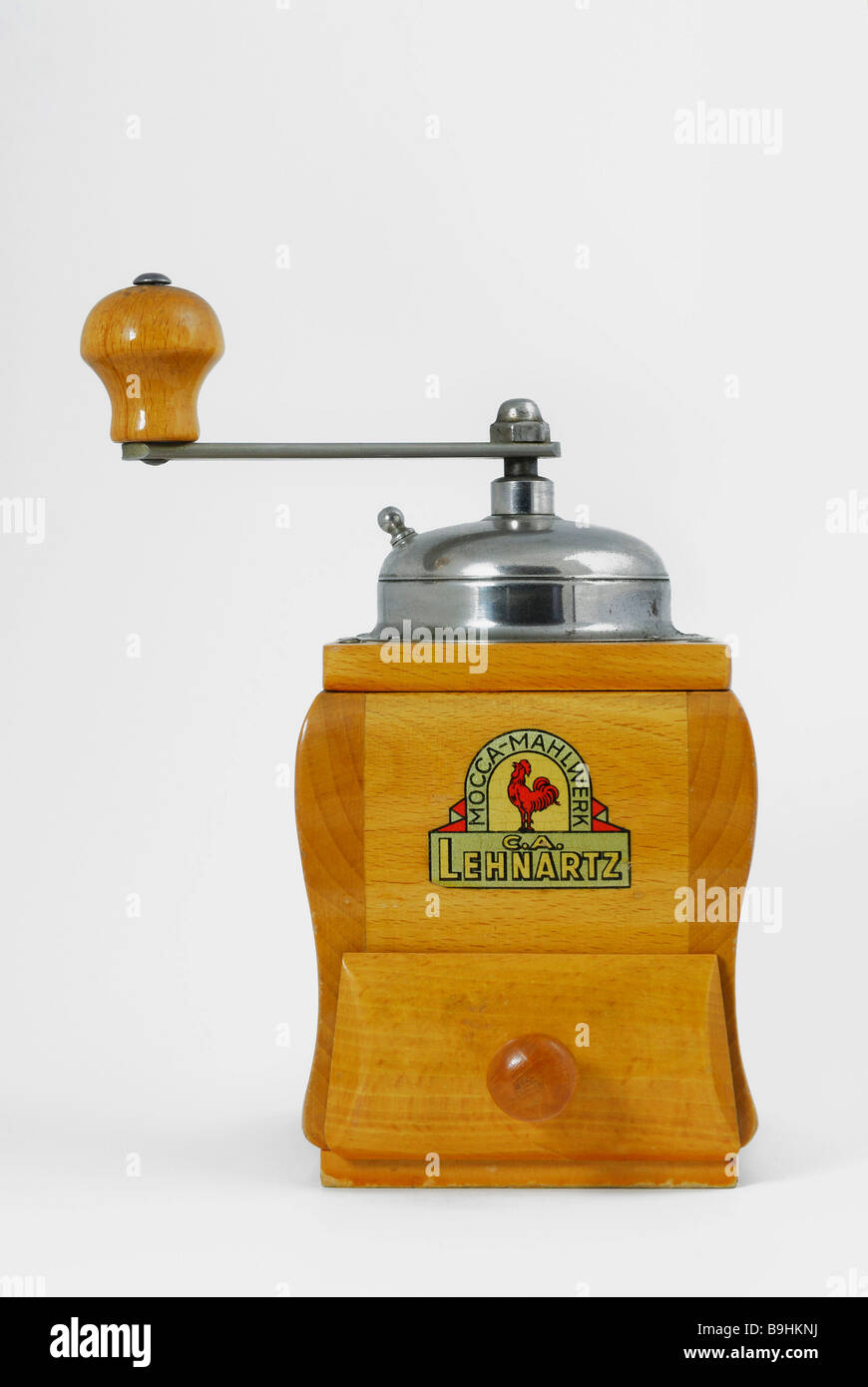 Wooden coffee mill, mocha grinder - Stock Image