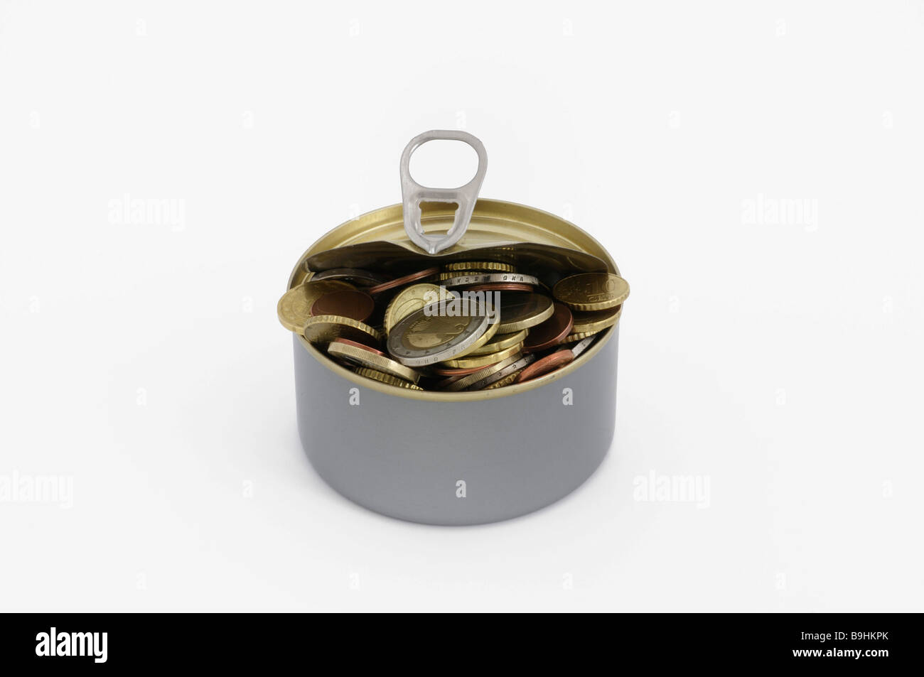 Can filled with Euro coins, funds in reserve - Stock Image