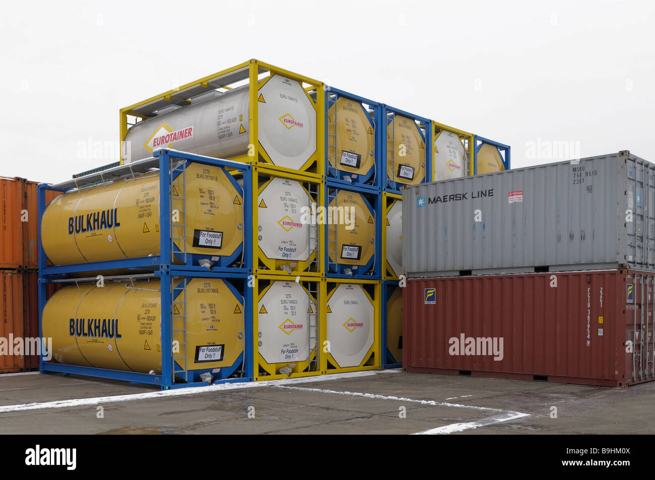 Standard ISO containers and tank containers, Bonn terminal, North Rhine-Westphalia, Germany, Europe - Stock Image