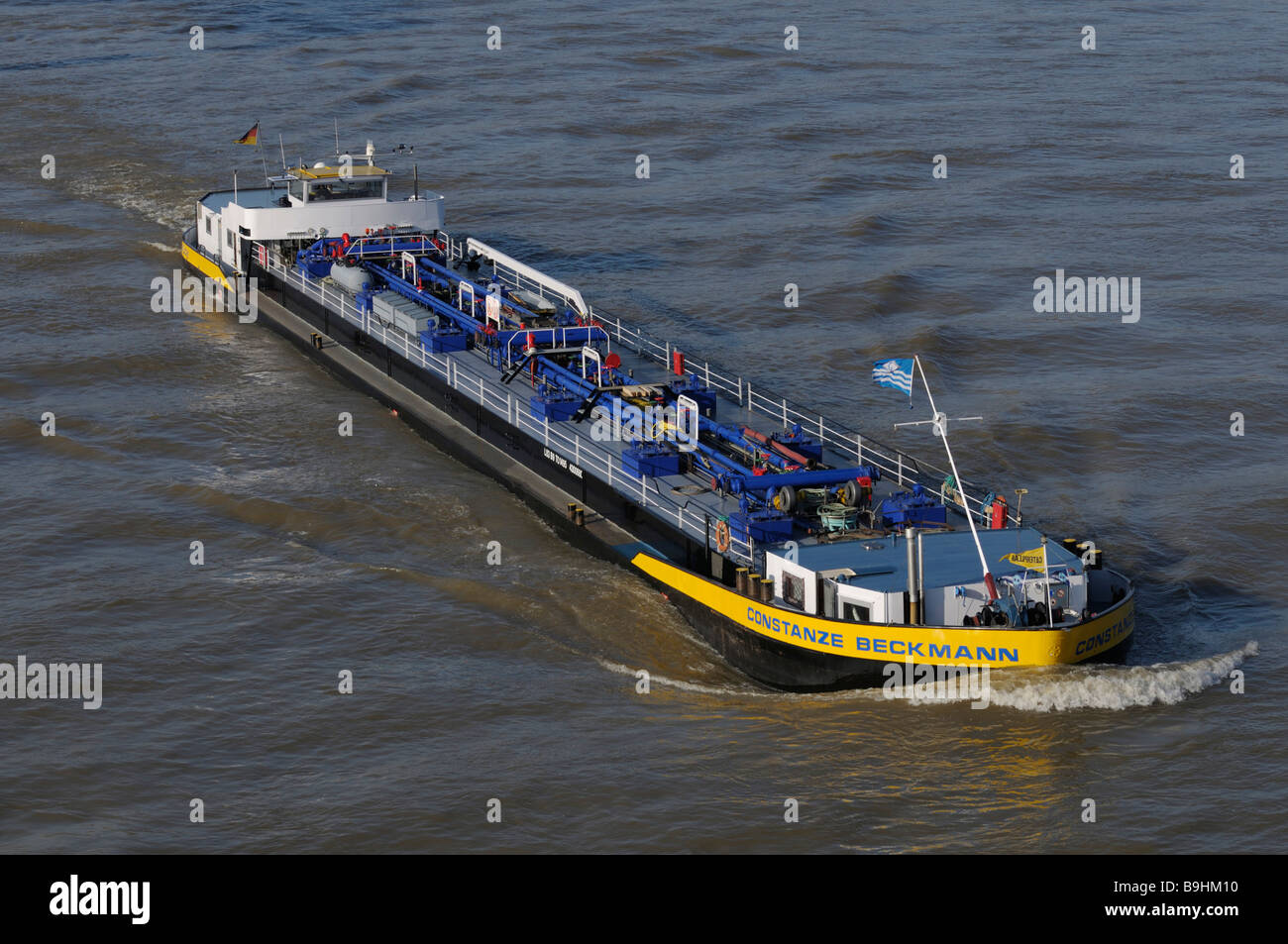 Gas tanker ship, Constanze Beckmann, on the Rhine in North Rhine-Westphalia, Germany, Europe - Stock Image