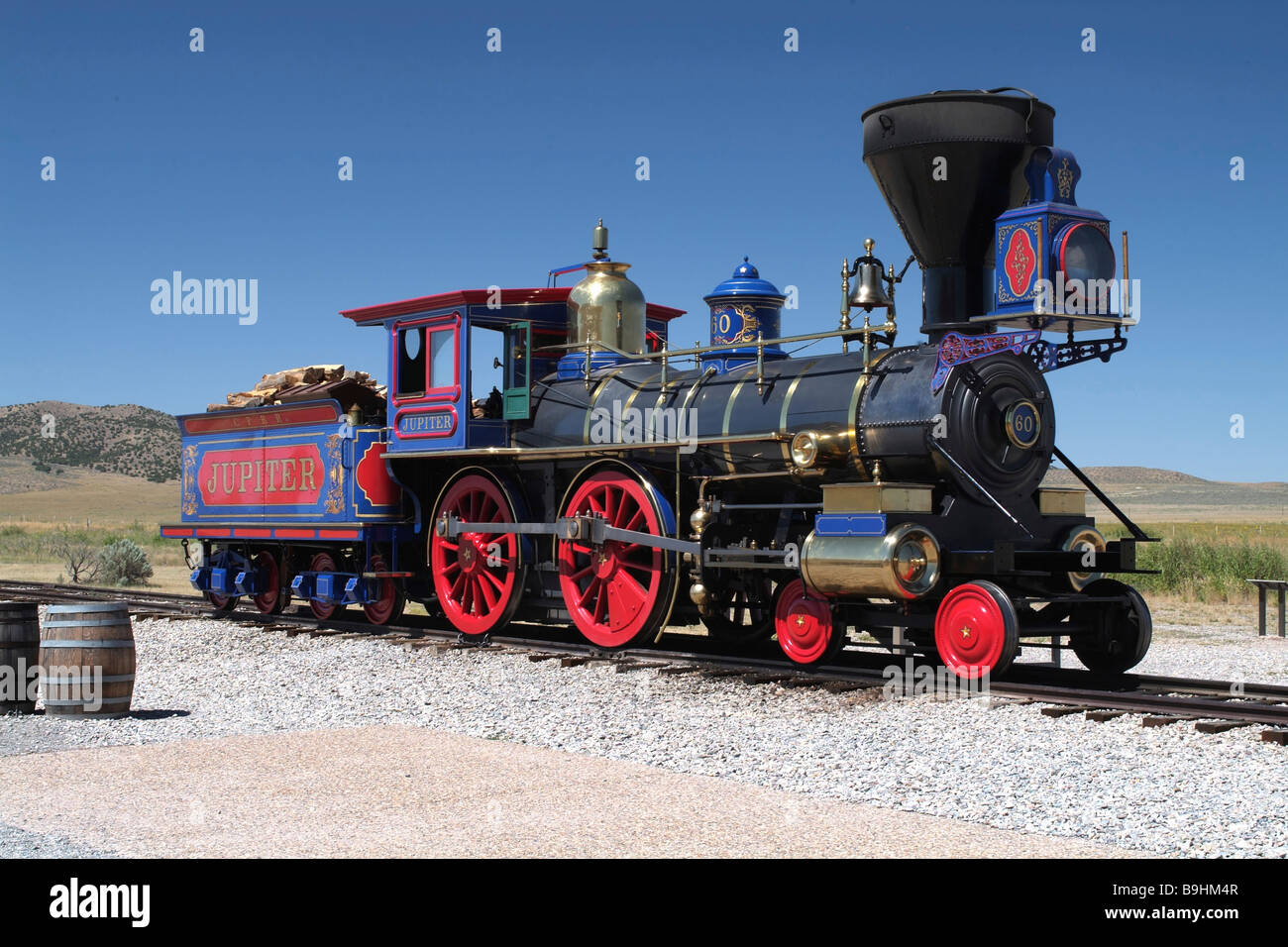 Historic locomotive, Golden Spike National Historic Site, Transcontinental Railroad, dessert by Great Salt Lake - Stock Image
