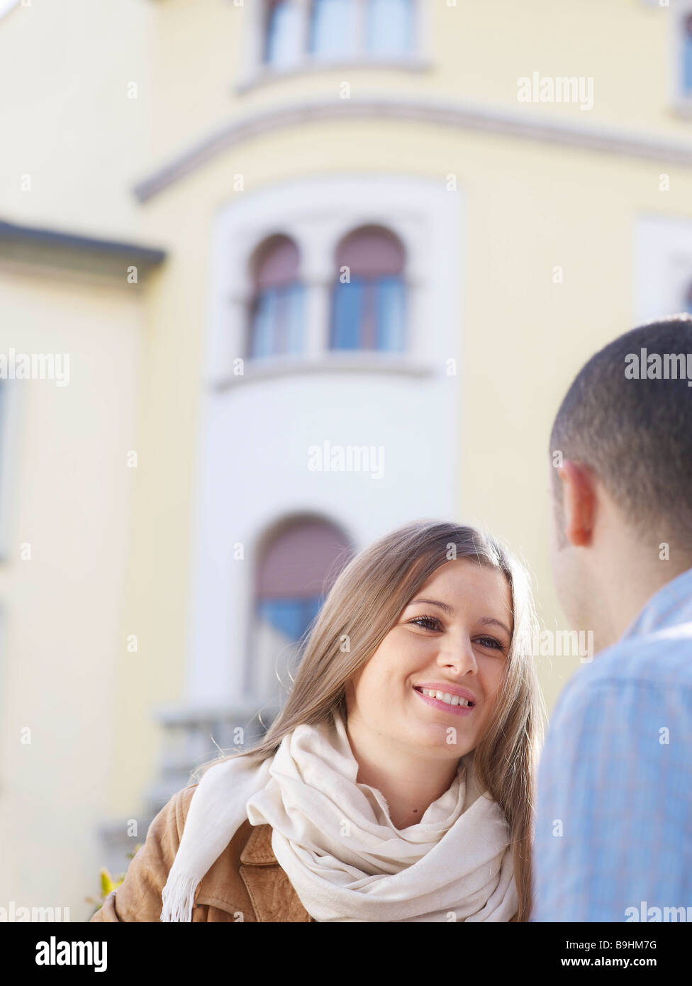 Young couple in a european street - Stock Image