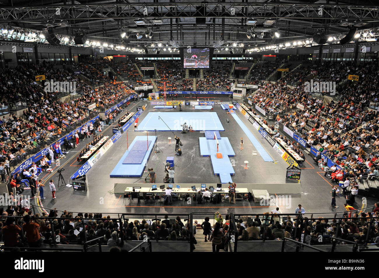 Porsche Arena, interior, gymnastics world cup Stuttgart 2008, Baden-Wuerttemberg, Germany, Europe - Stock Image