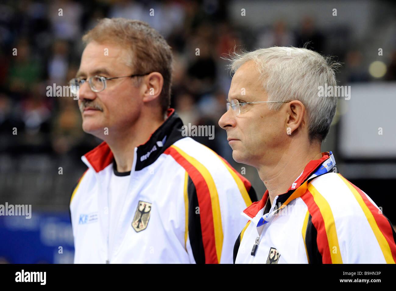 Gymnastics coach Andreas Hirsch, right, and Wolfgang Hambuechen, coach of Fabian Hambuechen, gymnastics world cup - Stock Image