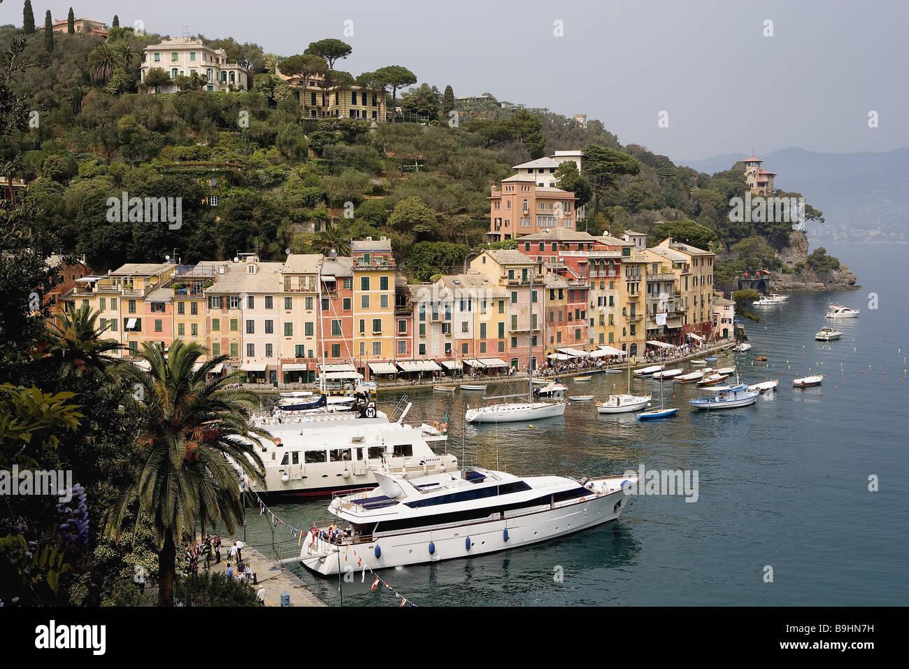 Italy Liguria coast Portofino locality perspective harbor