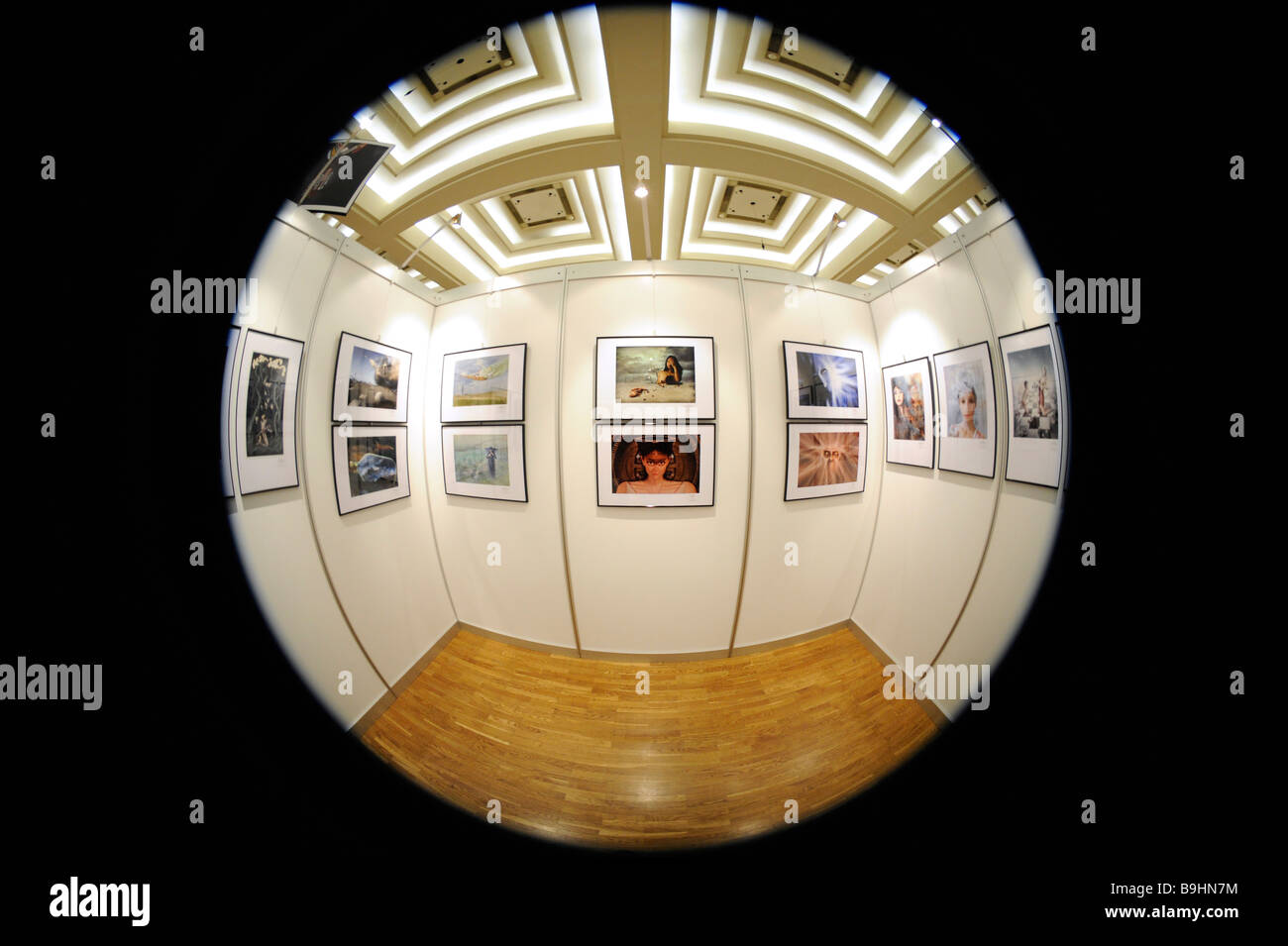 Fisheye picture, gallery, exhibition, photography - Stock Image