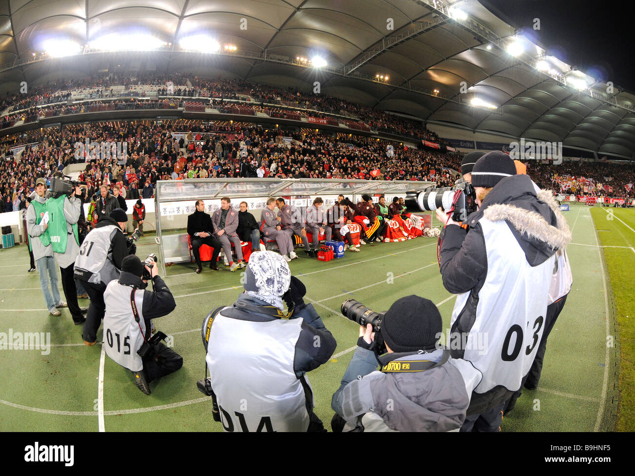 Coaching bench, substitute's bench of BfB Stuttgart and press photographers, in the Mercedes-Benz Arena Stuttgart, - Stock Image