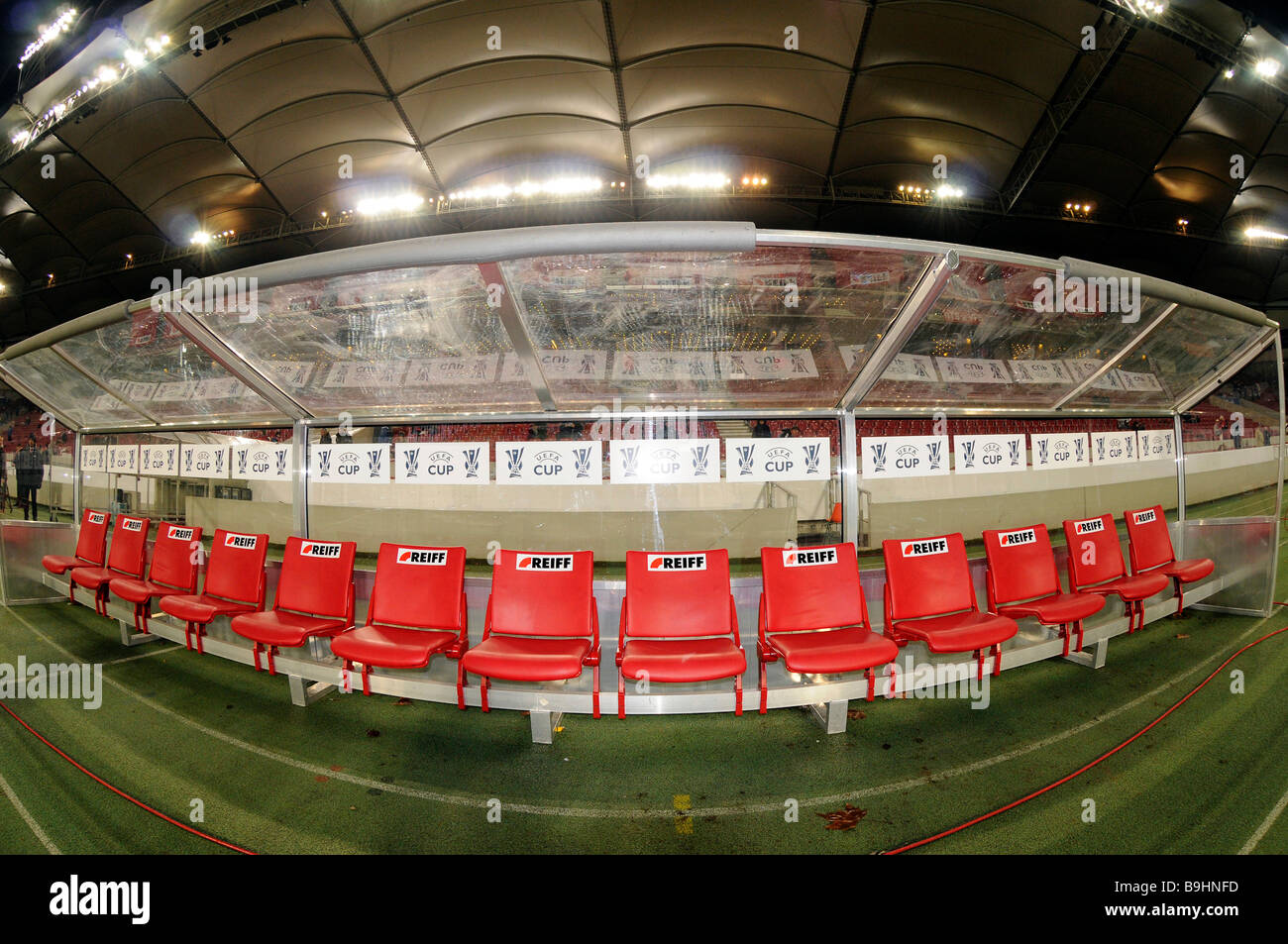 Empty coaching bench, substitute's bench of BfB Stuttgart and press photographers, in the Mercedes-Benz Arena - Stock Image