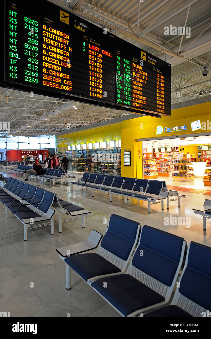Duty-Free Shop and a departure board in the waiting area at a boarding gate, Fuerteventura Airport, Canary Islands, Stock Photo