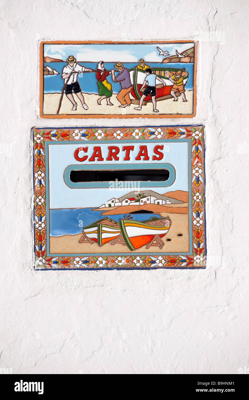 Letterbox and name plate on a house in Las Playitas, Fuerteventura, Canary Islands, Spain, Europe Stock Photo