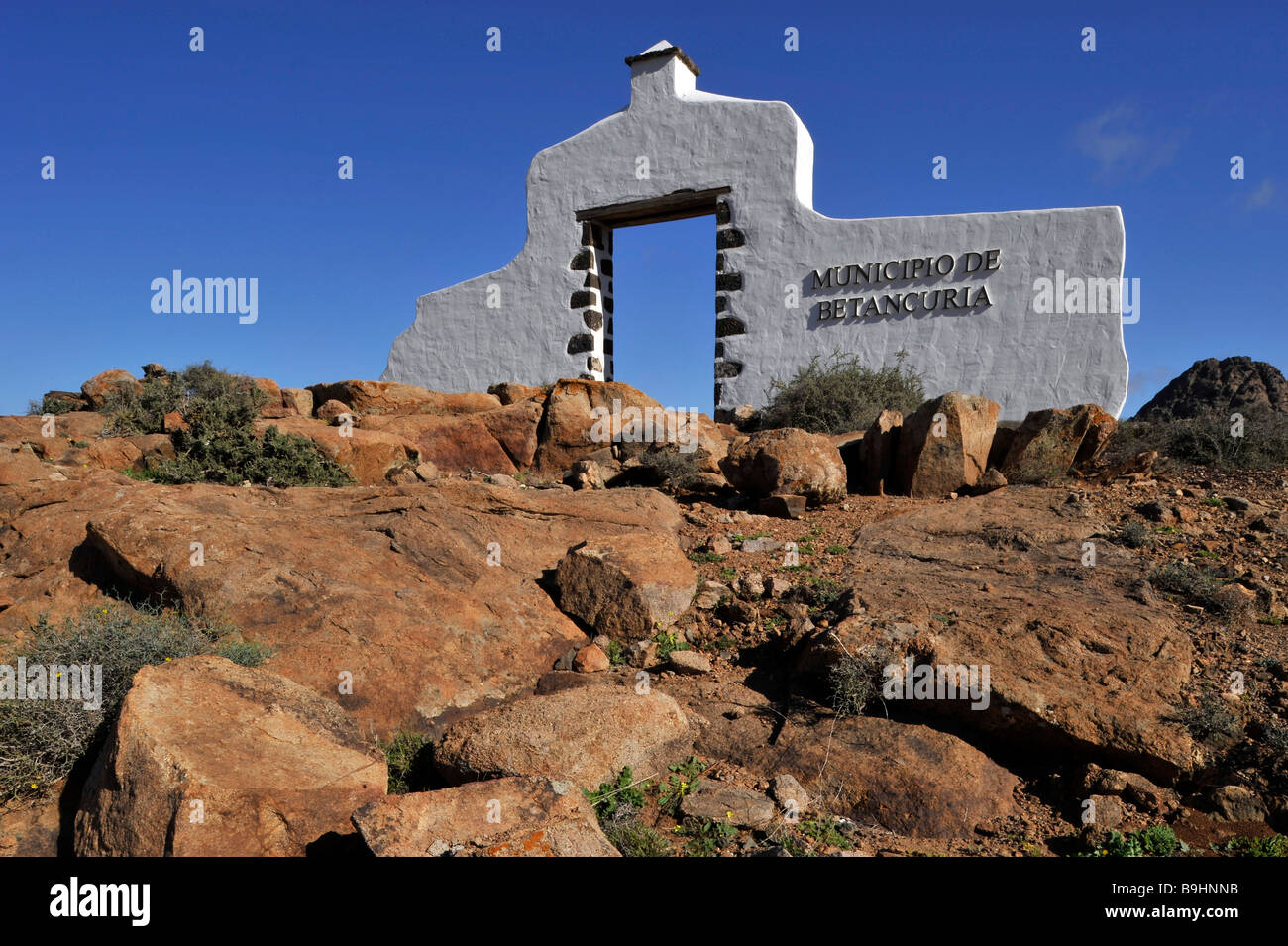 Typical border sign between provinces, Betancuria, Fuerteventura, Canary Islands, Spain, Europe - Stock Image