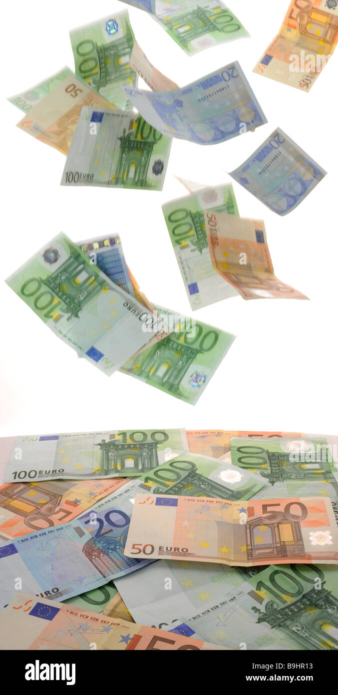 Euro banknotes, symbolic picture for money rain - Stock Image