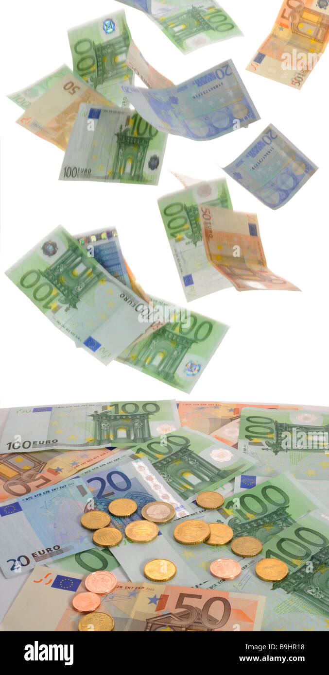 Euro banknotes, coins, symbolic picture for money rain - Stock Image