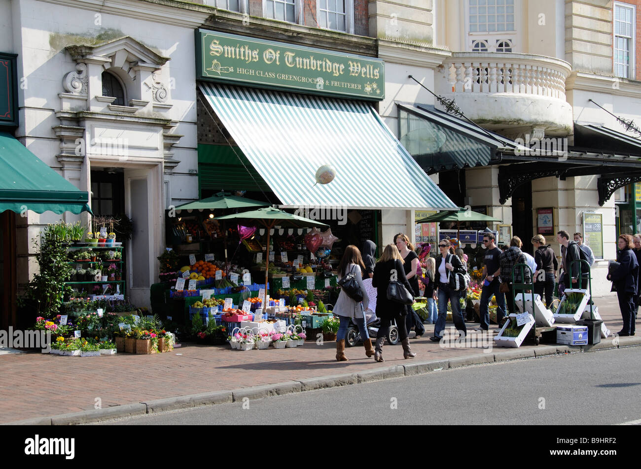 Mount Pleasant Road Royal Tunbridge Wells Kent England shoppers outside a greengrocers store - Stock Image