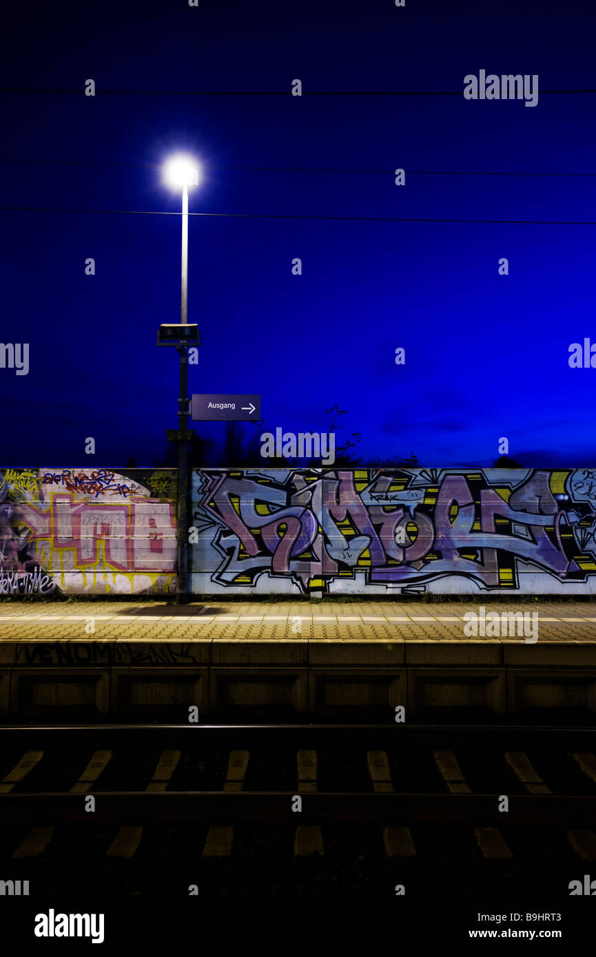 Exit sign on the platform of a train station in Brandenburg, Germany, Europe - Stock Image