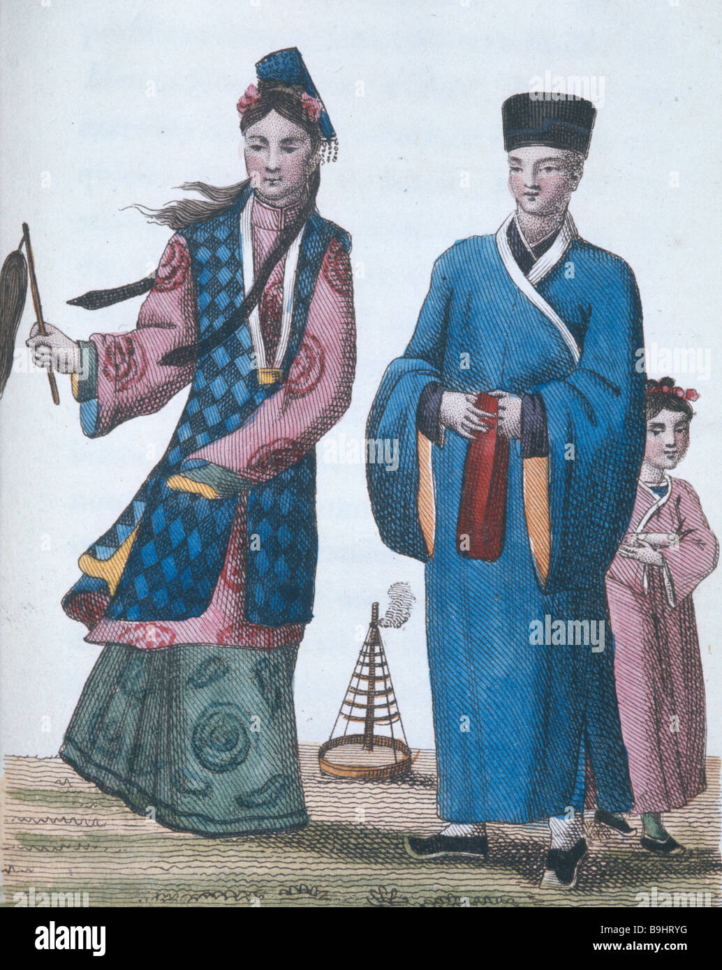 Chinese man with buddhist priestess Chinese engraving 1811 - Stock Image