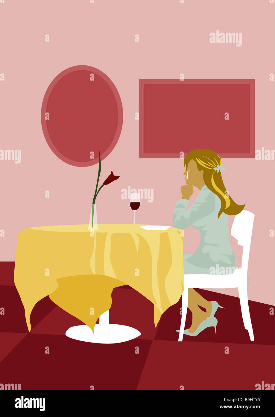 Illustration woman young cries table sitting alone lateral blond long-haired pub restaurant indoors secluded separated - Stock Image