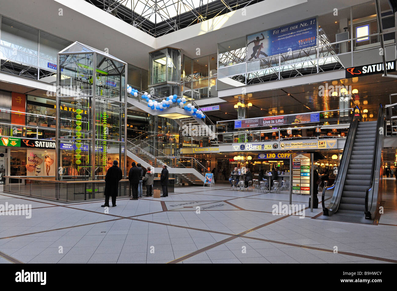 main hall with water clock in the europa center berlin germany stock photo 23135419 alamy. Black Bedroom Furniture Sets. Home Design Ideas