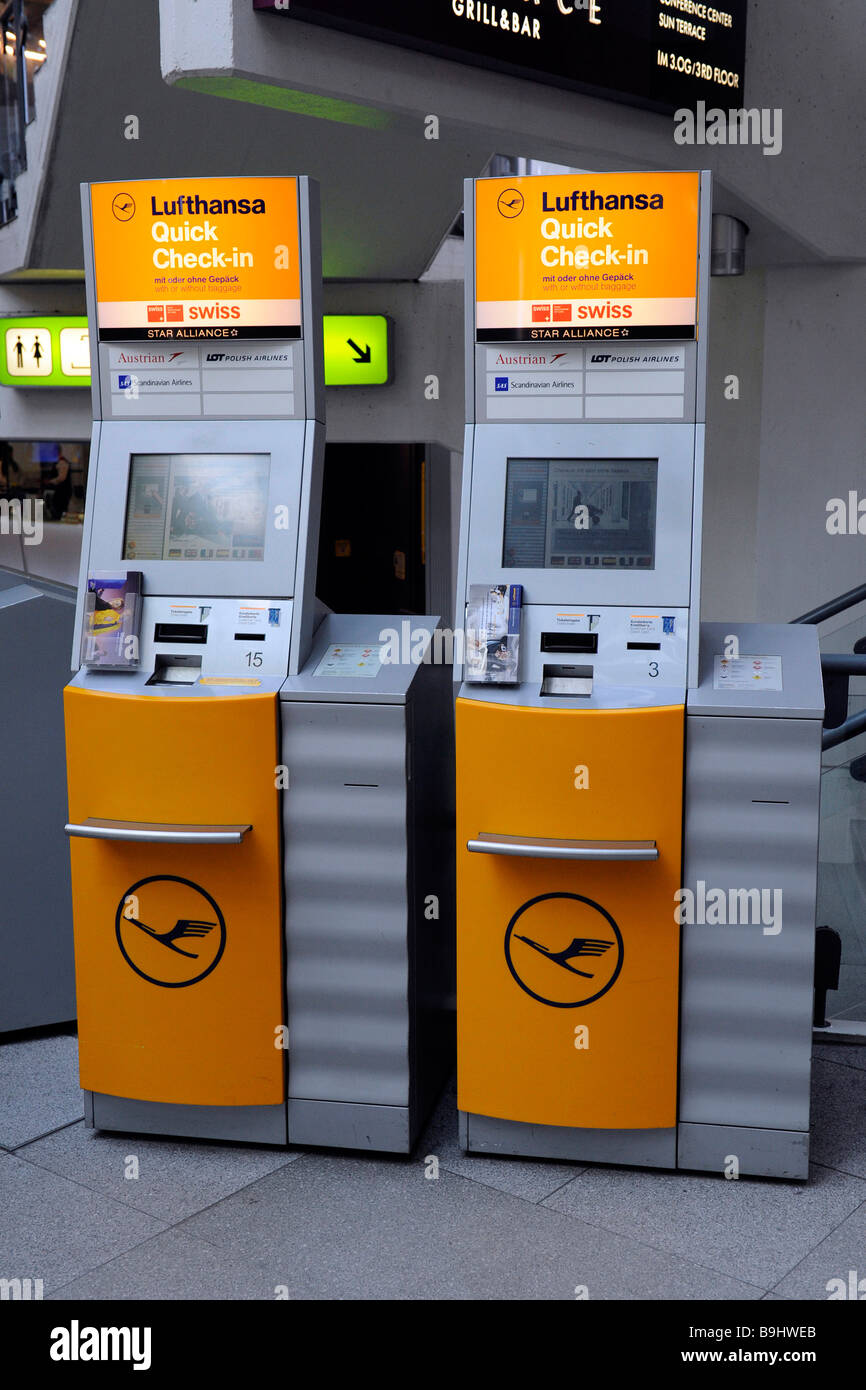 Lufthansa quick check-in terminals at Berlin-Tegel Airport, Berlin, Germany - Stock Image