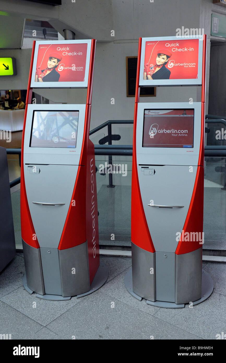 Air Berlin quick check-in terminals at Berlin-Tegel Airport, Berlin, Germany - Stock Image