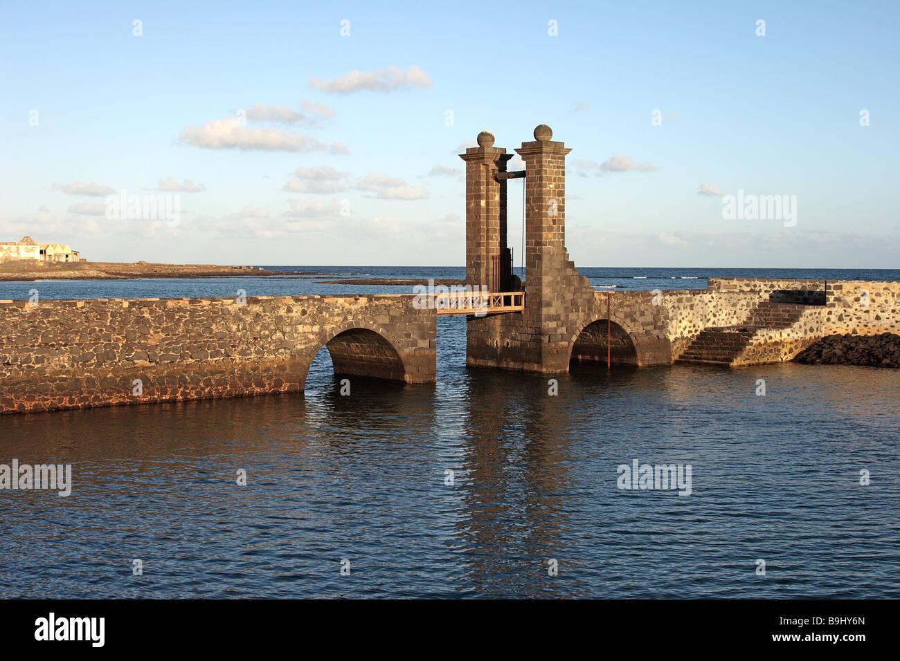 spain Canary islands Puente de las Bolas Atlantic-island Lanzarote Arrecife dock bridge architecture city water Stock Photo