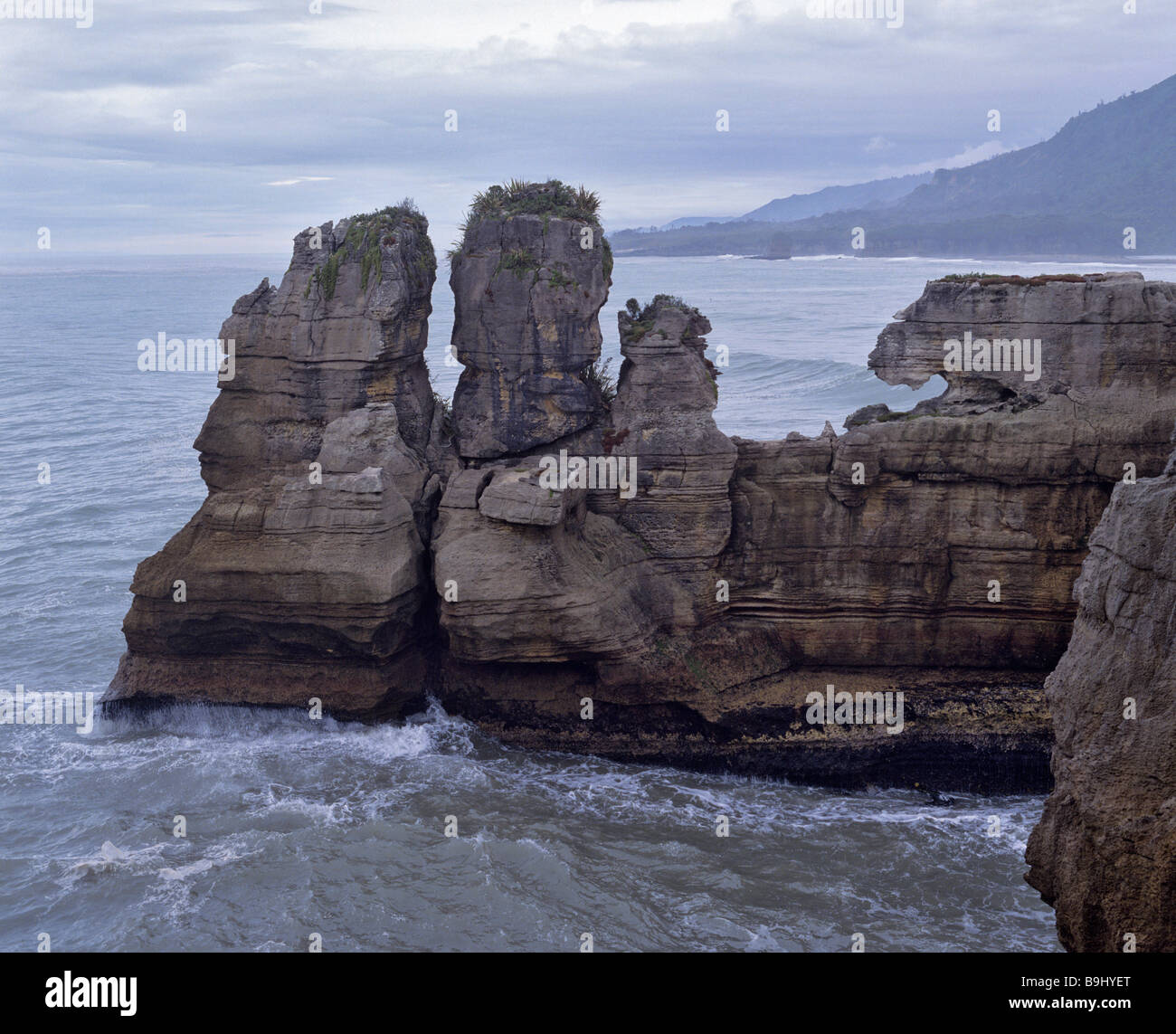 Pancake Rocks, rock formation in the Paparoa National Park, Punakaiki, South Island, New Zealand - Stock Image