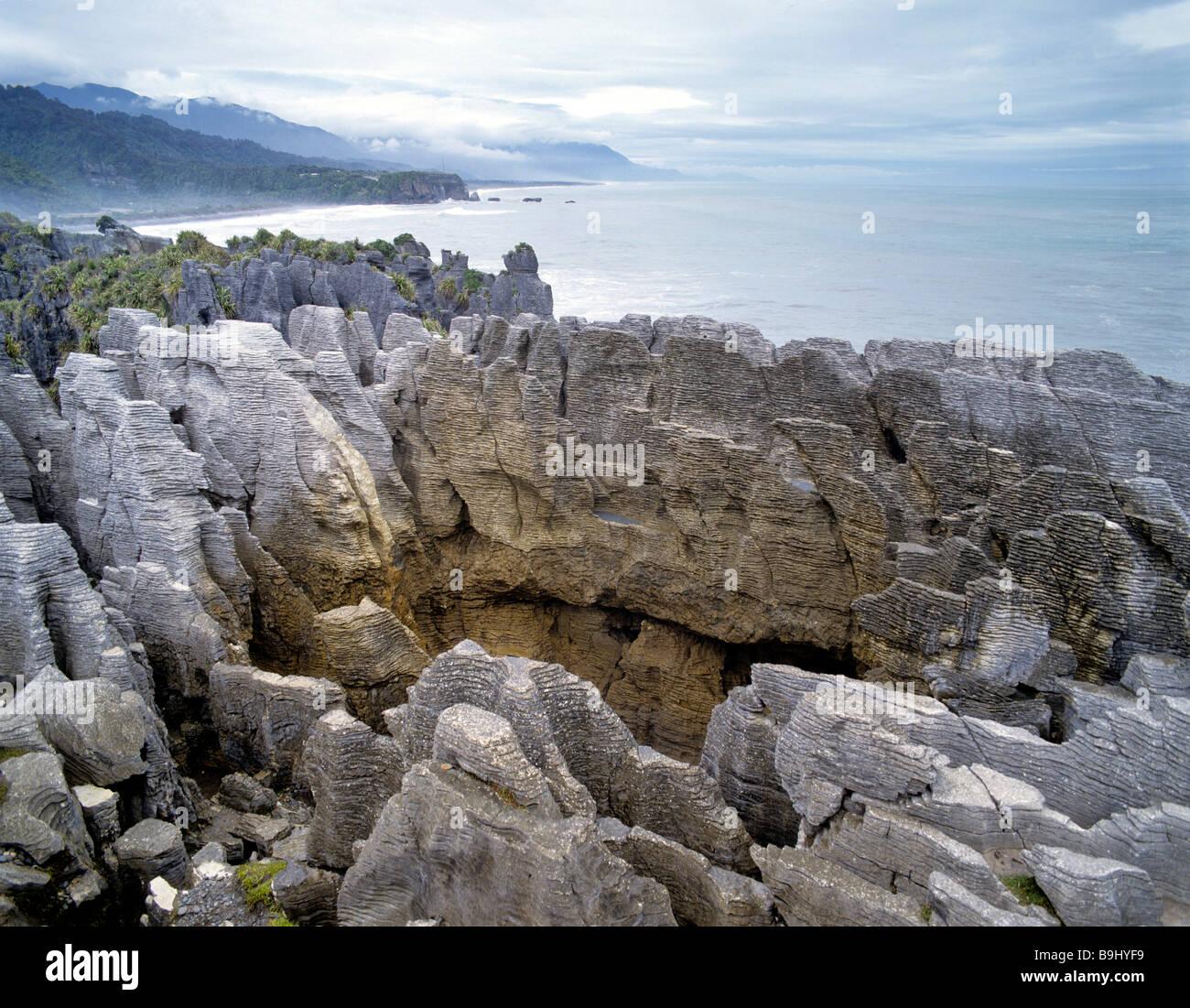 Pancake Rocks, Paparoa National Park, Punakaiki, South Island, New Zealand - Stock Image