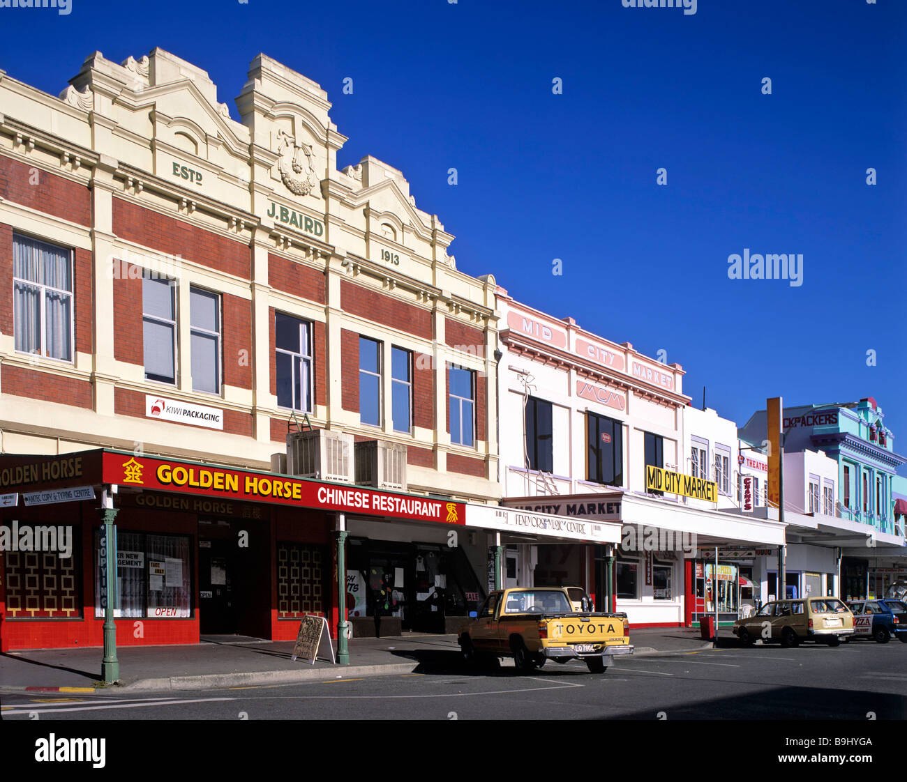 Shopping street in Nelson City, South Island, New Zealand - Stock Image