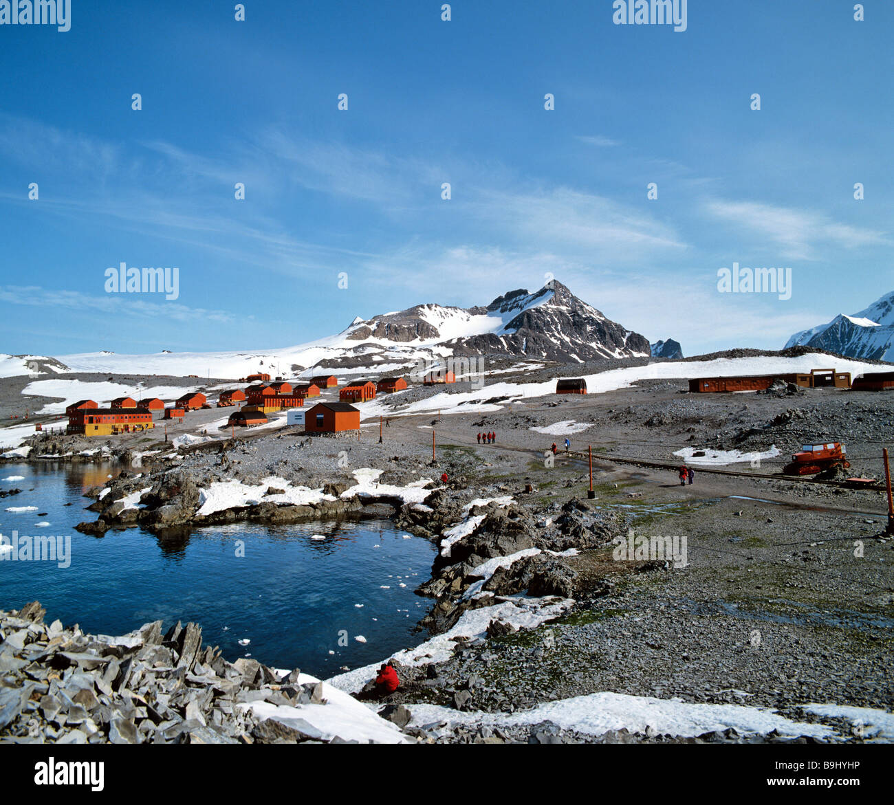 Weddell Sea, Hope Bay, small bay on the north end of the Antarctic peninsula, Argentinian research centre Esperanza, - Stock Image