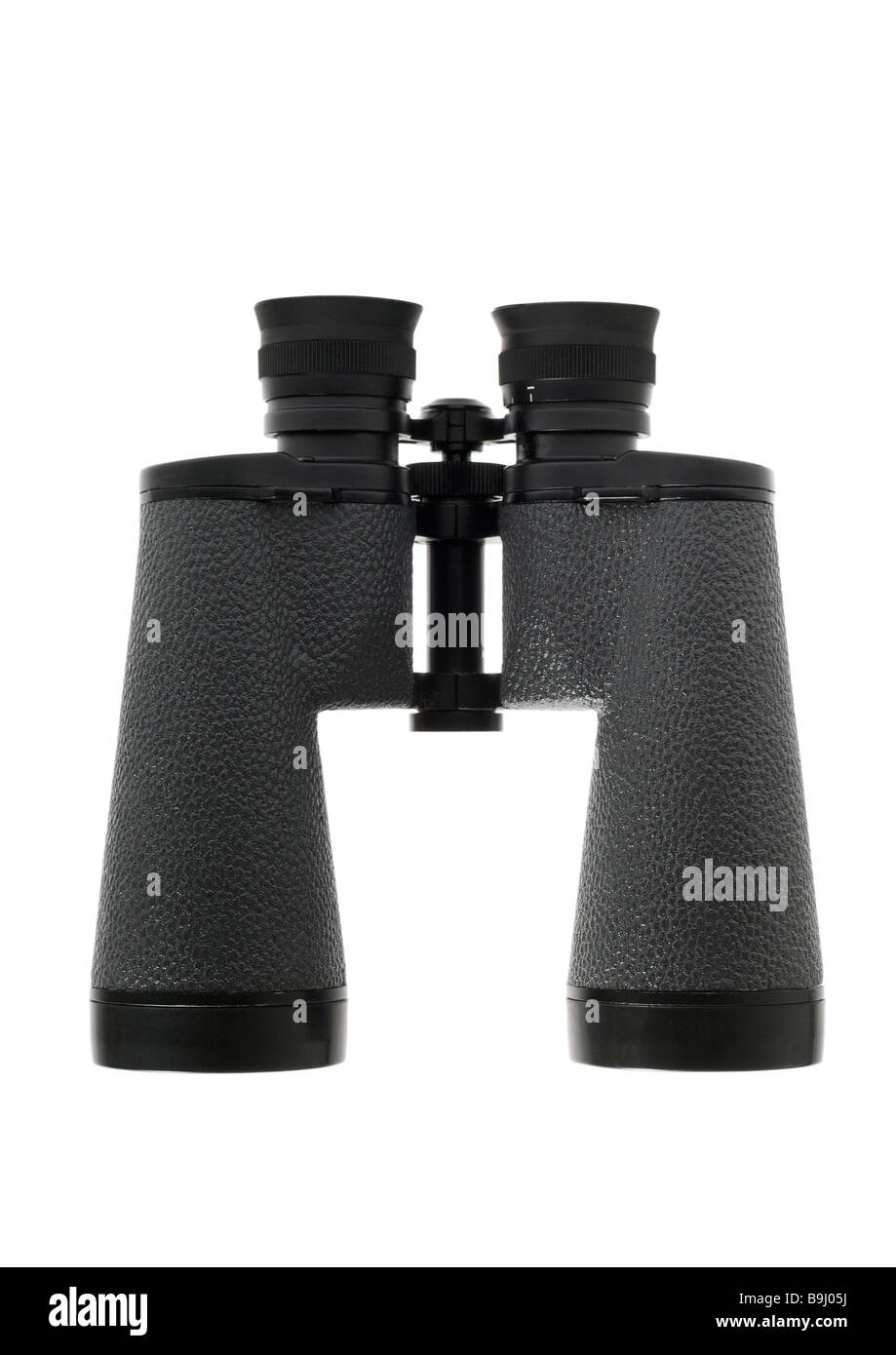 Black binoculars on white background - Stock Image
