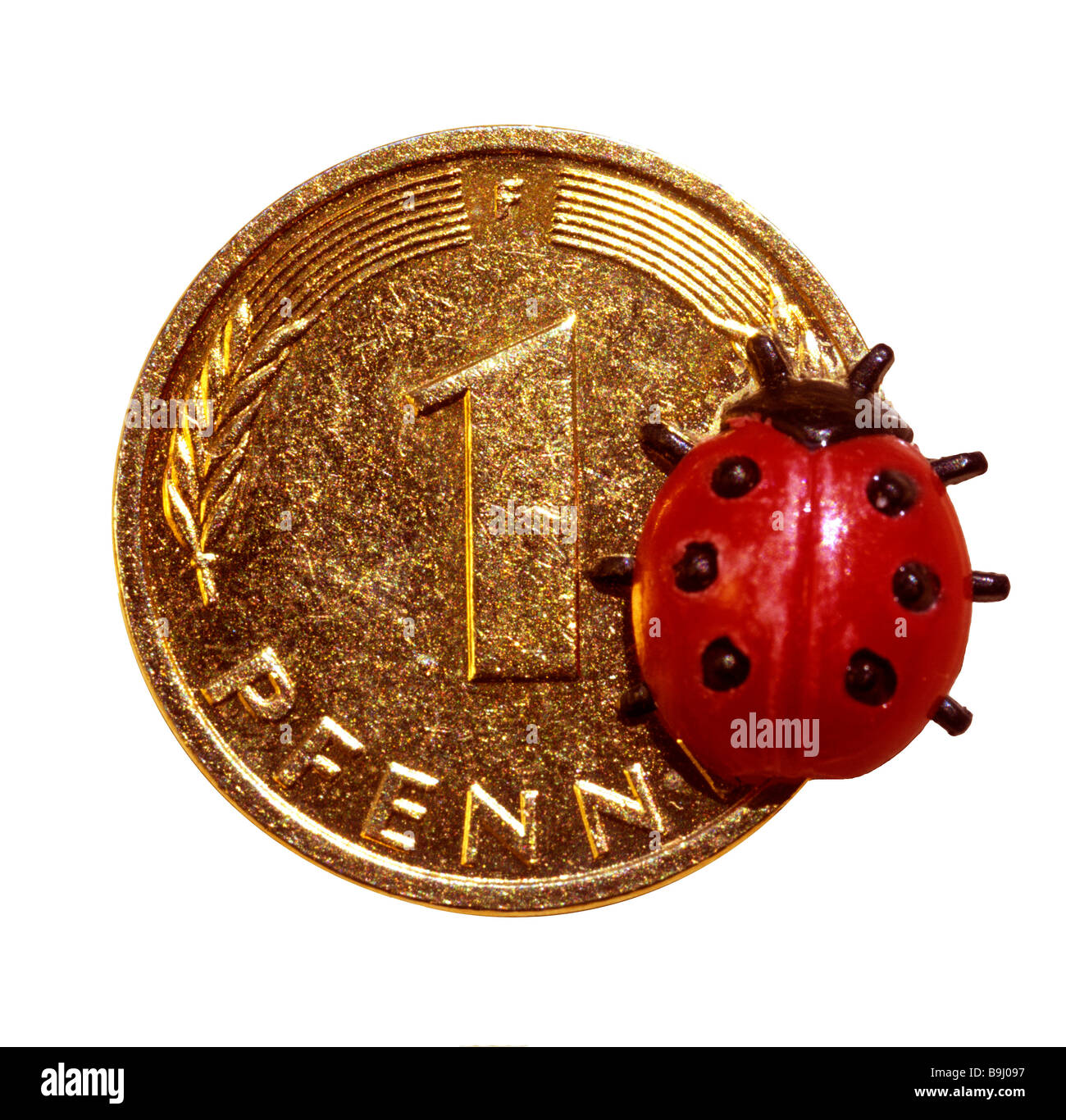 Lucky penny, lady beetle, lucky charm - Stock Image