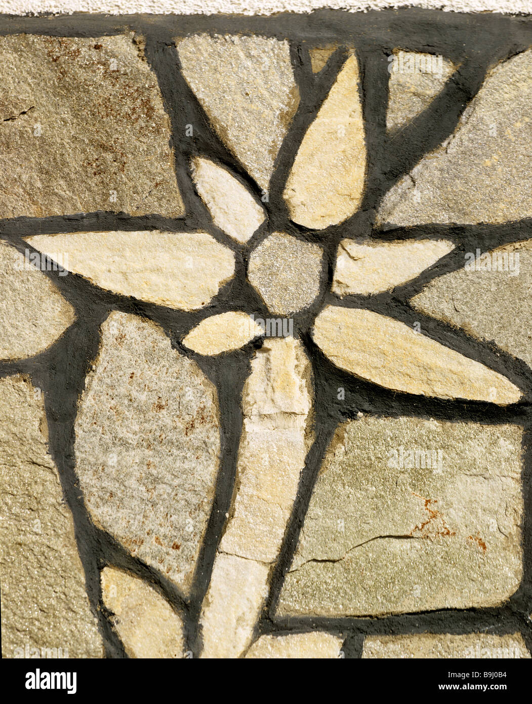 Edelweiss, flower mosaic in stonework - Stock Image