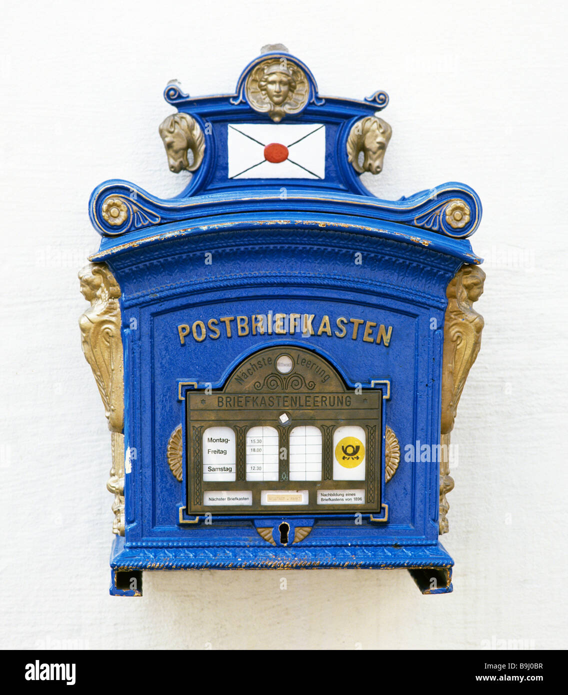 Blue letter box in Erfurt, Thuringia, Germany Stock Photo