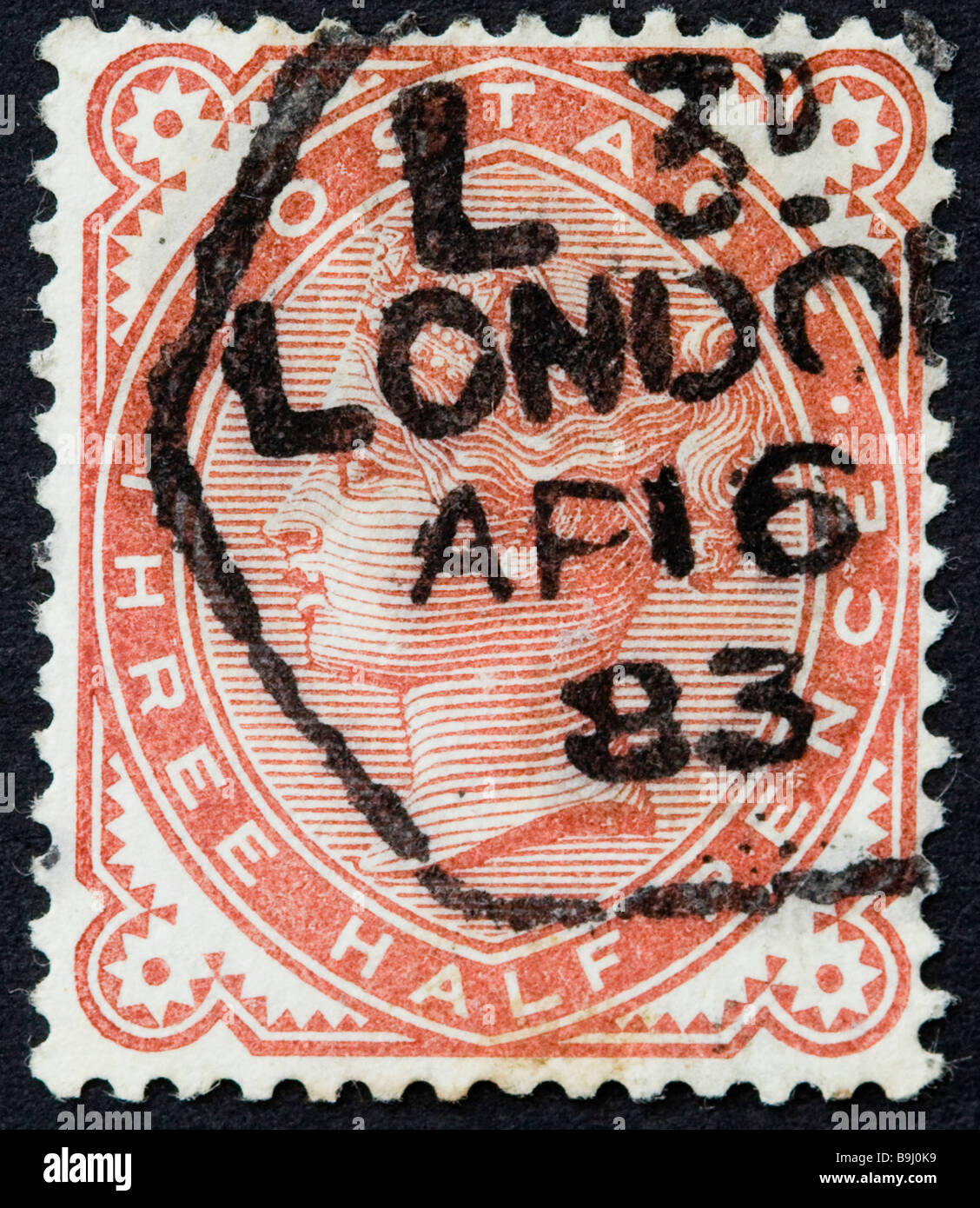 Victorian British postage stamp, three halfpenny red 1880 SG 167 used, postmarked London - Stock Image