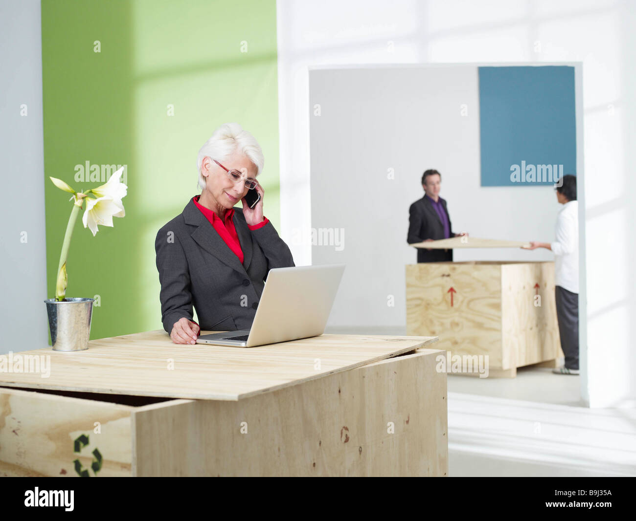 Senior business women with mobile phone - Stock Image